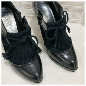 White House Black Market Shoes - WHBM Leather and Suede Heeled Boot Size 7